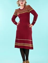 the Fair Isle knit dress. wine