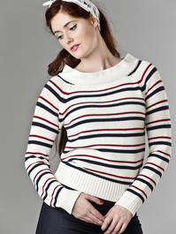 the Bardot boatneck. cream white stripe