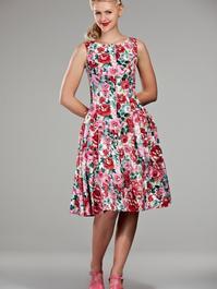 Debutante doll dress. Pink roses waffled