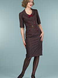 the boss lady dress. wine/plum plaid