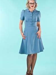the miss fancy pants dress. dusty blue twill
