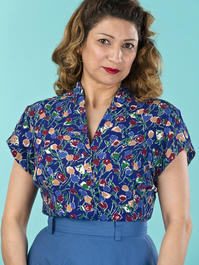 the be my baby blouse. tulips in royal blue