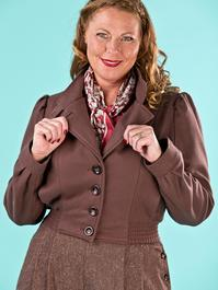 Amelia's aviator jacket. brown