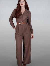 The feminine flair jumpsuit. Brown salt & pepper