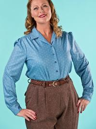 the lovely librarian blouse. dusty blue dots