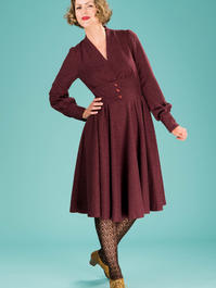 the rock around the winter dress. wine bouclé