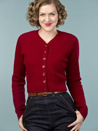 the lumberJackie cardigan. wine