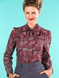 the sassy secretary blouse. paisley