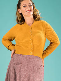 the lumberJackie cardigan. mustard