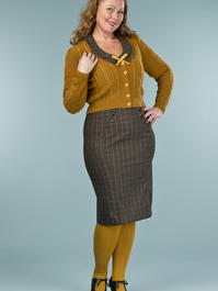 the boss lady dress. mustard/black plaid