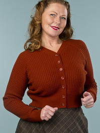 the lumberJackie cardigan. cinnamon
