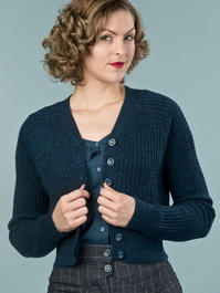 the lumberJackie cardigan. melanged teal