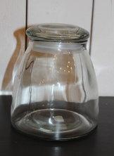 Glasburk med lock-  stor