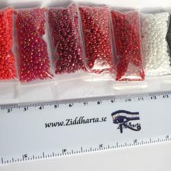 Seedbeads-MIX 7st olika färger: Paket #12 - Purple RED