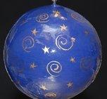 Julkula blå med guldcirkelmönster 8 cm