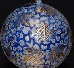 Julkula blå med bladmönster 5 cm