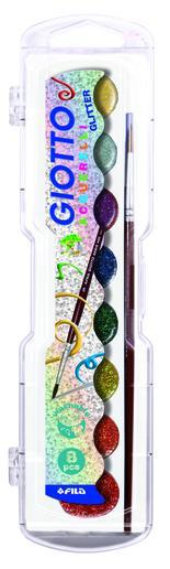 Giotto Aquarelli Glitter vattenfärg 8-pack