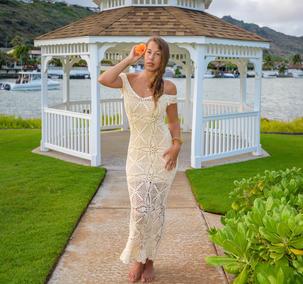 Handmade crochet wedding dress BEIGE