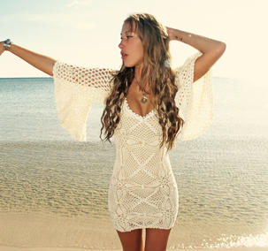 Handmade crochet loose sleeve dress BEIGE