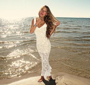Handmade crochet wedding dress WHITE