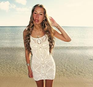 Handmade crochet mini dress WHITE