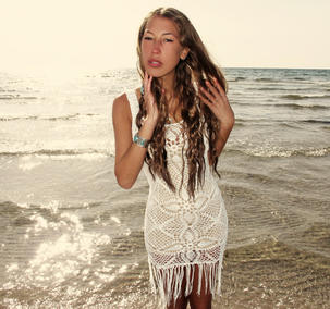 Handmade crochet fringe dress WHITE