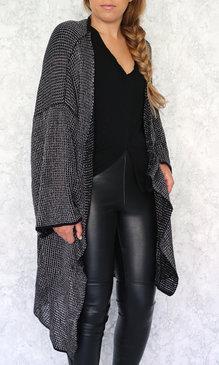 Broke long cardigan svart