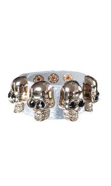 Big skull armband silver