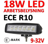 18W LED miniatyr ECE R10 flood 90° 9-32V