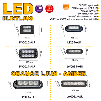 LED blixtljus 127x28mm ECE R10  R65 LW0032-ALR