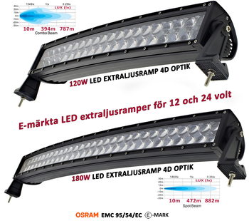 120-288W böjd curved LED extraljusramp Osram 4D optik E-mark EMC sidomonterad 2016