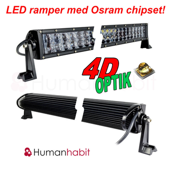 120-288W böjd curved LED extraljusramp Osram 4D optik E-mark EMC sidomonterad 2018