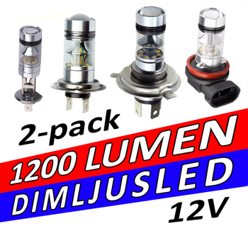 LED dimljuslampa 2-pack 1200 lumen 20W Philips chipset valbar lampsockel