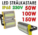 230 Volt kraftfull LED strålkastare valbar 50W, 100W, 150W för utomhusbruk IP65