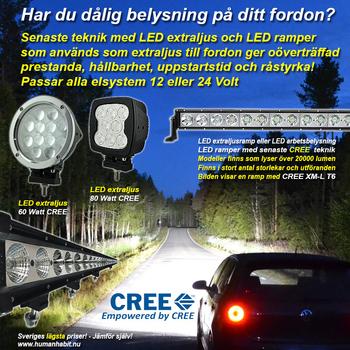 80-260W CREE LED ljusramp EMC certifierad och E-märkt 9-32V
