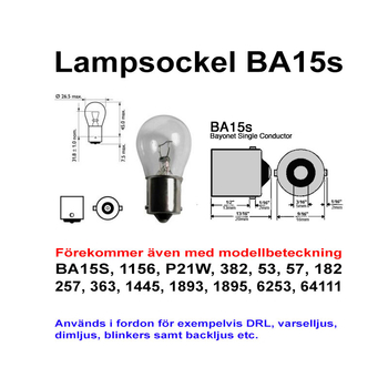 Ba15s 7,5 Watt LED backljus etc