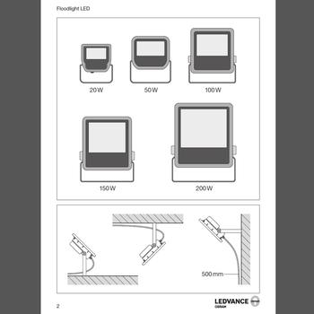 Osram LEDVANCE® 230 Volt LED strålkastare valbar 20, 50, 100, 150, 200W
