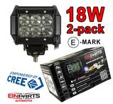 2 pack 18W CREE LED arbetsbelysning 60° 12-24V