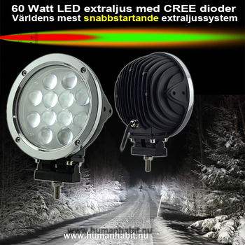 Trepack 60W LED extraljus CREE diameter 180mm