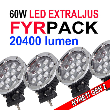 Fyrpack 60W LED extraljus CREE diameter 180mm