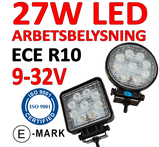 27W LED arbetsbelysning ECE R10  flood 60° 9-32V