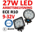 27W LED arbetsbelysning ECE R10  flood 60° 9-32V L0077 L0076