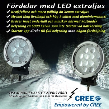 45W LED extraljus CREE diameter 140 mm