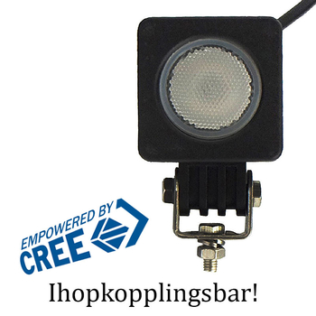 2 pack 10W CREE mini LED, valbar 10° spot eller 60°  flood, ihopkopplingsbar 9-32V