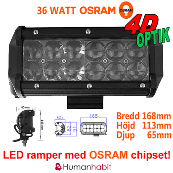 18-306W LED ramp Osram Extreme 4D fäste undertill