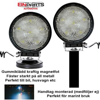 Portabel 18W LED arbetsbelysning 12-24V med 5m kabel och magnetfot
