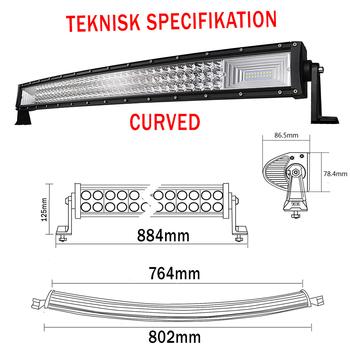 3-radig 7D LED extraljusramp med sidofästen valbar rakt eller böjt chassi 9-32V