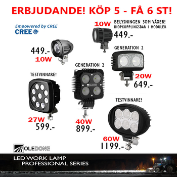 40W CREE LED arbetsbelysning OLEDONE 9-50V