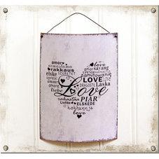 Välvd ljuslila plåtskylt - Love
