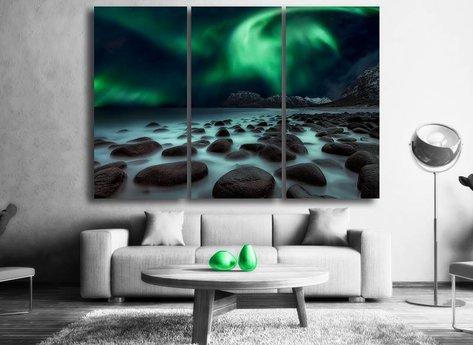 Norrsken tavla - Vacker norrsken tavla i tre delar